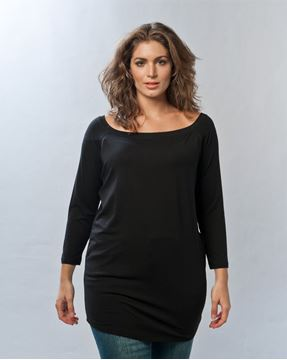 Bild von Basic long top in anthrazit & schwarz