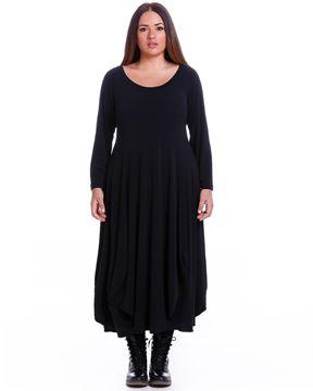 Bild von Gerafftes Kleid in kaki und schwarz