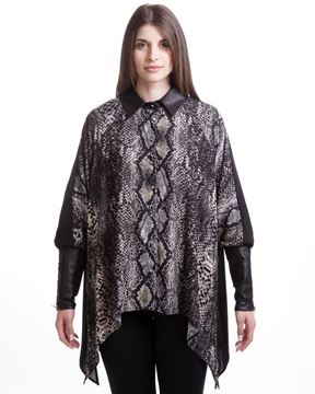 Image de Snake-printed shirt with leather-like cuffs