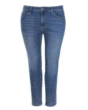 Bild von Blaue Jeans mit Strasssteinen